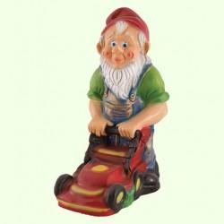 Садовая фигура Гном с газонокосилкой