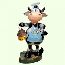 Садовая фигура Корова повар с фонарем