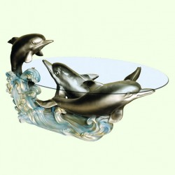 Стеклянный столик Три дельфина