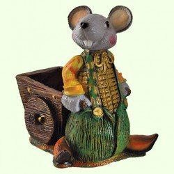Подставка для цветов Мышь с тачкой