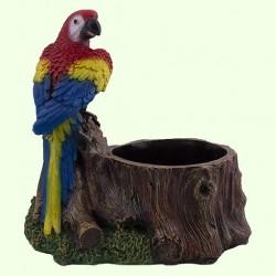 Подставка для цветов Пень с попугаем