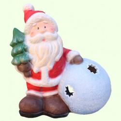 Новогодний подсвечник Дед Мороз со снежкой