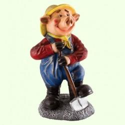 Садовая фигура Свинья с лопатой