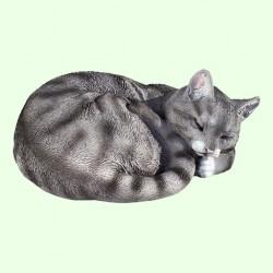 Садовая фигурка Спящий кот калачиком серый