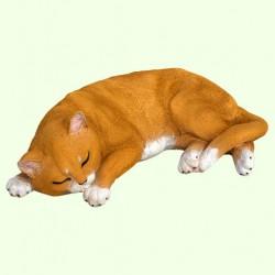 Садовая фигурка Спящий кот рыжий