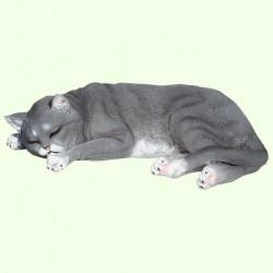 Садовая фигурка Спящий кот серый