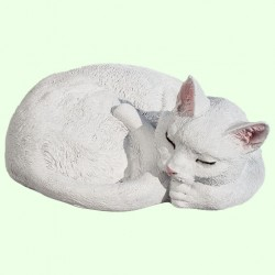Урна для праха Спящий кот калачиком белый