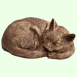 Урна для праха Спящий кот калачиком бронзовый